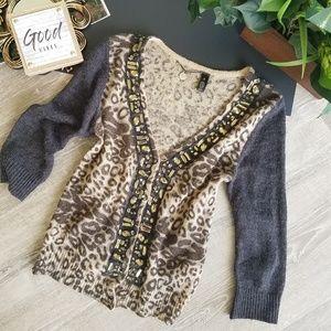 BKE Leopard Printed Wool Embellished Cardigan SM